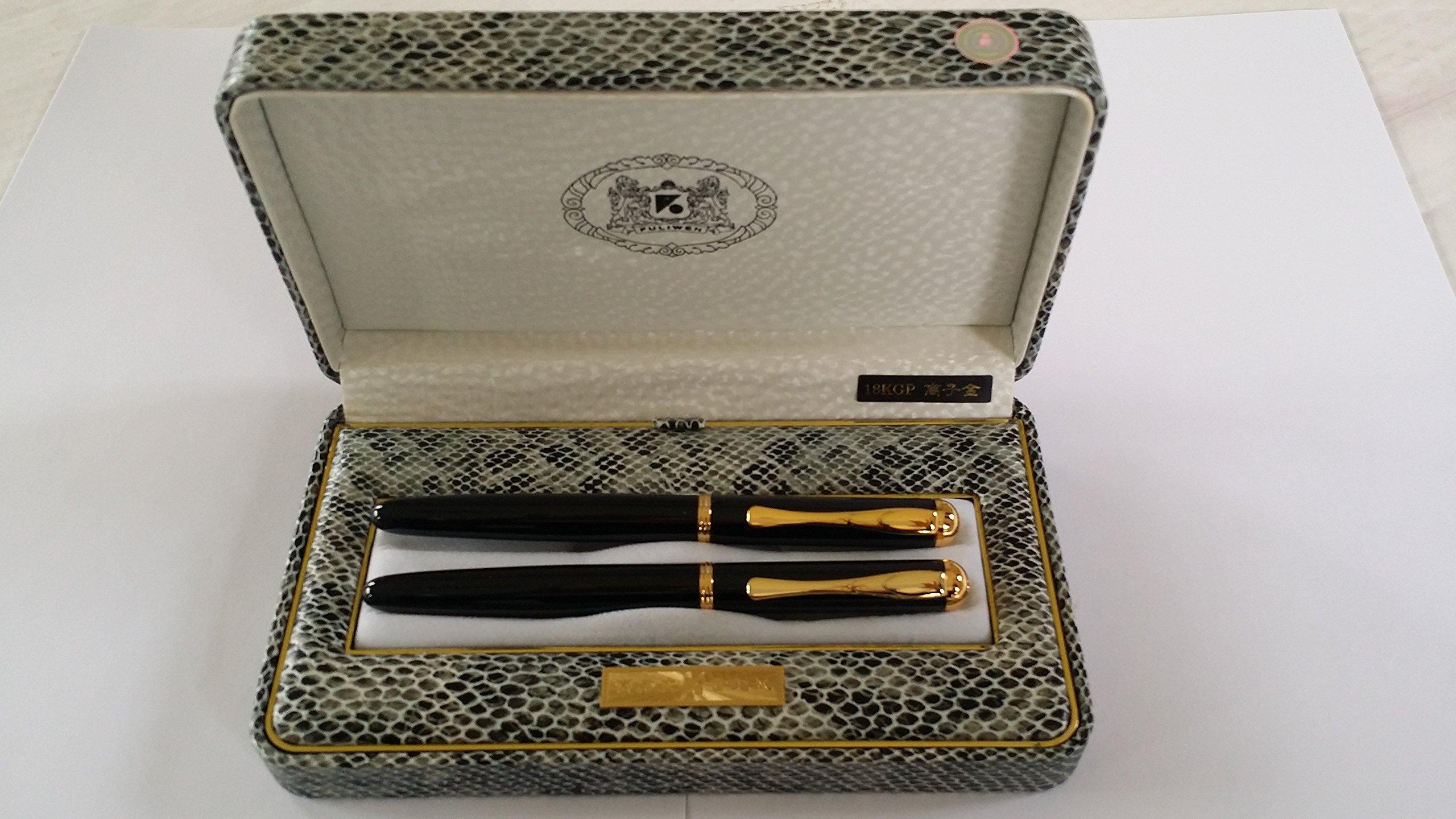 Bolígrafo de punta y con cuchara pluma estilográfica 18 K en chapado en oro de piel de caja de presentación: Amazon.es: Oficina y papelería