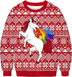 PIZOFF Unisex Hip Hop 3D Digital Printing Pullover Sweatshirts for Christmas