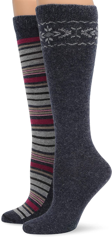 Wise Blend womens Soft Angora Pattern Stripe Knee High Socks 2 Pair Pack