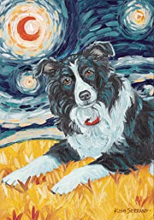 Toland Home Garden Van Growl Border Collie 12.5 x 18 Inch Decorative Puppy Dog Portrait Starry Night Garden Flag