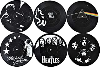 Our Casa Records Coasters Set for Drinks Retro Music Legends with Designed Vinyl Box   Men Women Gift Non-Slip Prevent Tabletop Damage Easily Washable   6X Record Coaster   Black and White Decor