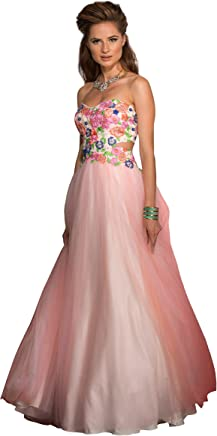 a316610912 Clarisse Women s Strapless Floral Ball Gown Prom Dress 2531