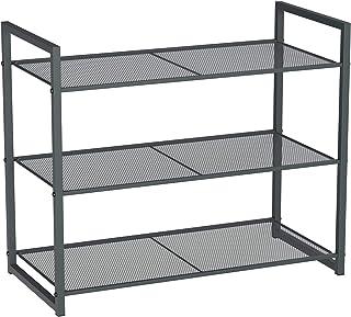 SONGMICS 3-Tier Shoe Rack, Stackable Shoe Organizer, 9-12 Pairs of Shoes, Metal Shoe Rack Storage, 24.8 x 11.8 x 20.5 Inches, Smoky Gray ULMR83GC