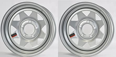 2-Pack Trailer Wheel Silver Rims 14 x 5.5 Spoke Style 5 Lug On 4.5 in. Center