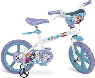 """Bicicleta Aro 14"""" Frozen Disney Bandeirante Branco"""