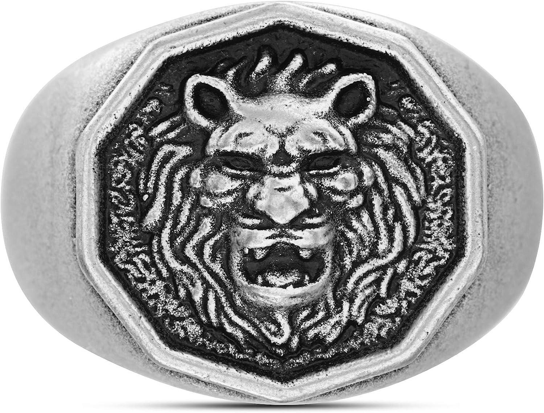 Steve Madden Oxidized Stainless Steel Royal Lion Head Design Ring For Men