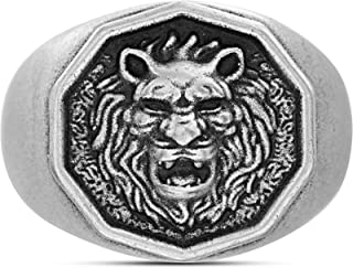 Steve Madden Oxidized Stainless Steel Royal Lion Head Design Ring for Men (Various Sizes)