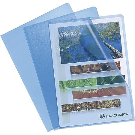EXACOMPTA 58522E Sachet de 100 Pochettes coin en polypropylène grainé 12/100e pour classement de documents format A4 Bleu