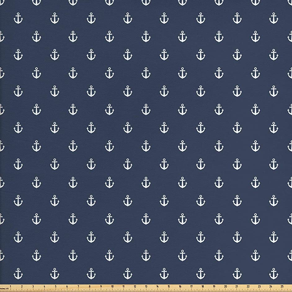 Ambesonne Navy Blue Fabric by The Yard, Nautical Classical Pattern with White Little Anchor Icons Sea Travel Cruise, Decorative Fabric for Upholstery and Home Accents, 1 Yard, Bluegrey White