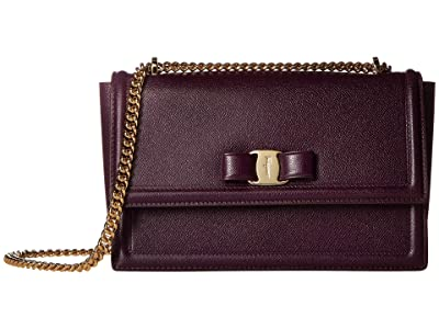 Salvatore Ferragamo Ginny Crossbody (Blackberry) Handbags