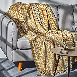 LALIFIT Bohemian Throw Blanket with Tassel Color Soft Knitted Blankets for Sofa Couch Chair Bed Home Decorate 50 x 60(Color Yellow)