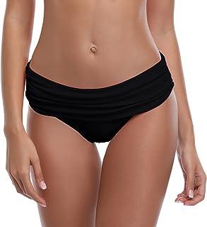 SHEKINI Women's Swimsuit Hipster Bikini Bottoms Full Coverage Ruched High Waisted Swim Bottoms