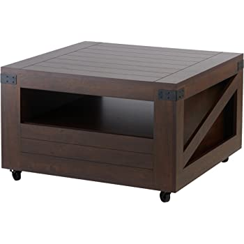 """ioHOMES Clyde Industrial 1-Drawer Square Coffee Table with 1 Open Shelf, Magazine Rack and Caster Wheels, 31"""", Vintage Walnut"""