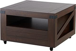 ioHOMES Clyde Industrial 1-Drawer Square Coffee Table with 1 Open Shelf, Magazine Rack and Caster Wheels, 31