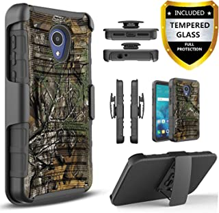 AT&T Axia Case, with [Tempered Glass Screen Protector Included], Circlemalls Built-in Kickstand Belt Clip Holster Heavy Duty Protective Phone Cover Bundled and Stylus Pen-Camo
