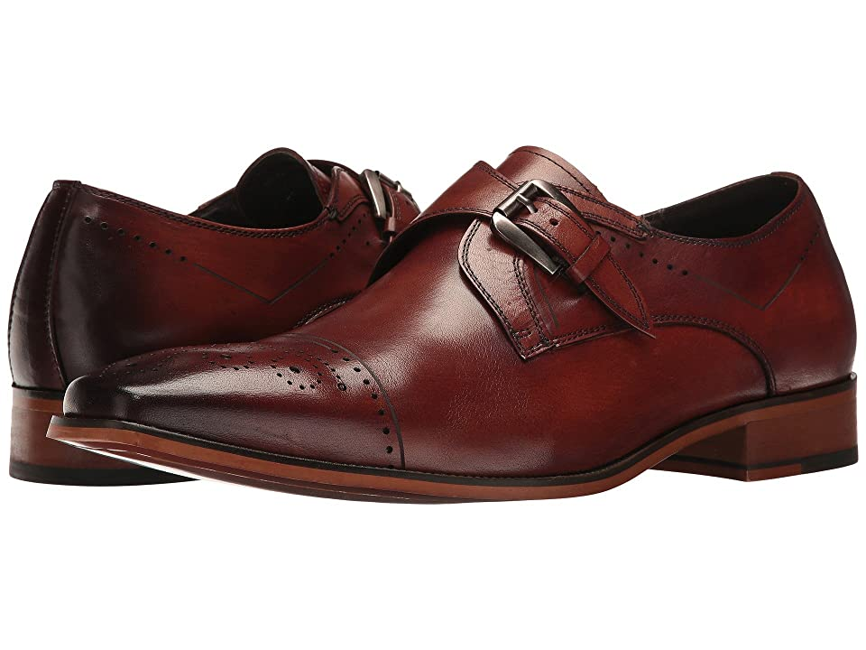 Stacy Adams Kimball Cap Toe Monk Strap (Chestnut) Men