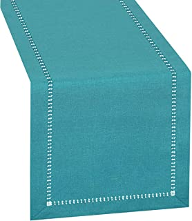 Camino de mesa con vainica hecha a mano color turquesa