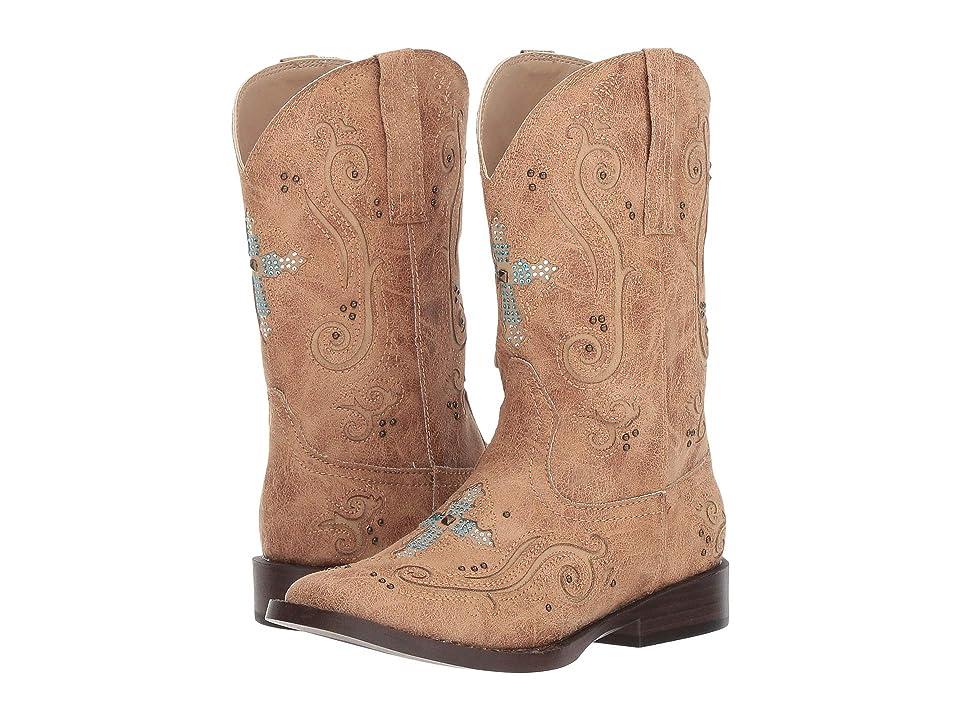 Roper Kids Faith (Toddler/Little Kid) (Tan Faux Leather Vamp & Shaft) Cowboy Boots