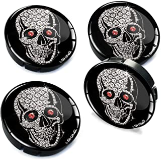 Biomar Labs® 4 x 60mm Silikon Nabenkappen Kappen Silber Schädel Totenkopf Silver Skull Felgendeckel Radkappen Radnabendeckel Nabendeckel Auto Tuning C 74
