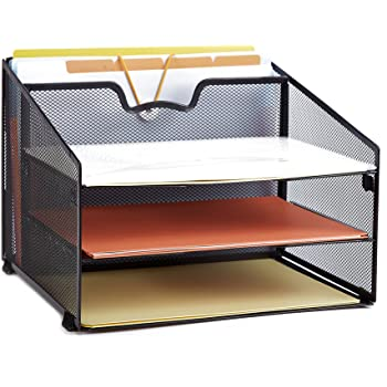 ProAid Mesh Office Desktop Accessories Organizer, Desk File Organizer with 3 Paper Trays and 1 Vertical Upright Compartment, Black