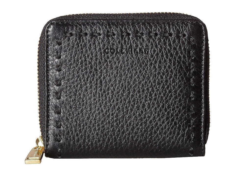 Cole Haan Ivy Pic Stitch Small Zip Wallet (Black) Handbags