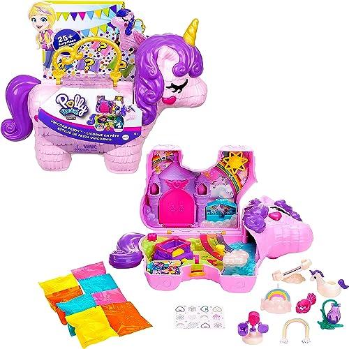 Polly Pocket coffret Licorne en Fête avec mini-figurines Polly et Lila, plusieurs zones de jeu, 25 surprises et acces...