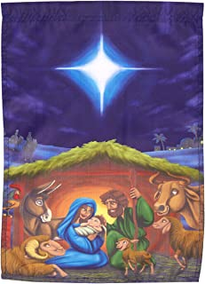 Juvale Decorative Garden Flag - Merry Christmas House Flag Banner, Winter Holiday Seasonal Outdoor Lawn Decoration, Nativity Scene Illustration, 12.25 x 17.25 Inches