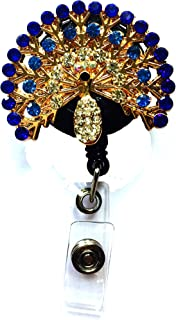 Bling Rhinestone Pearl Beautiful Blue Peacock Reel Decorated Retractable Badge Reel ID Holder with Clip Backing