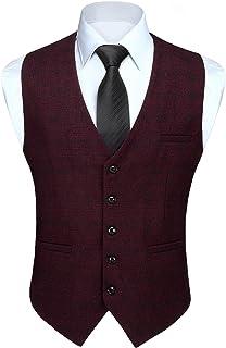 HISDERN Men's Check Waistcoats Formal Classic Plaid Waistcoat Wedding Casual Tartan Suit Vest with pockets