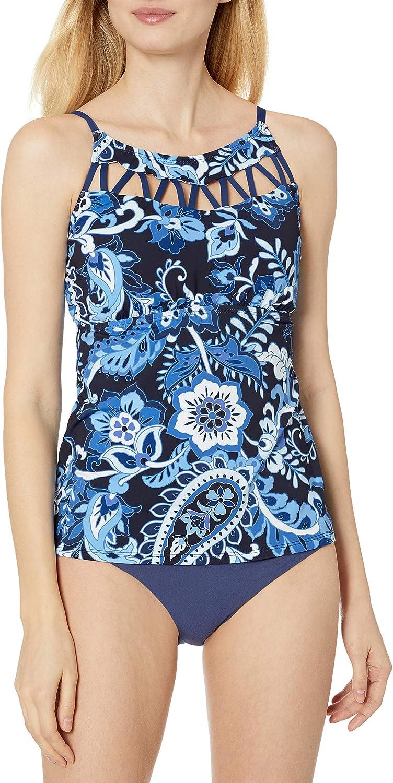 24th & Ocean Women's High Neck Tankini Swimsuit Top