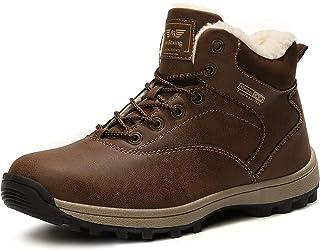 Botas Hombre Mujer Botines Zapatos Invierno Botas de Nieve Cálido Fur Forro Aire Libre Boots Urbano Senderismo Esquiar Caminando 36-47(A9285 Marrón,36)
