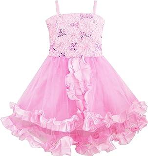こどもドレス 子どもドレス フラワードレス 刺繍ドレス 結婚式 発表会 タンク ピンク トリミング 110/115/130/140cm