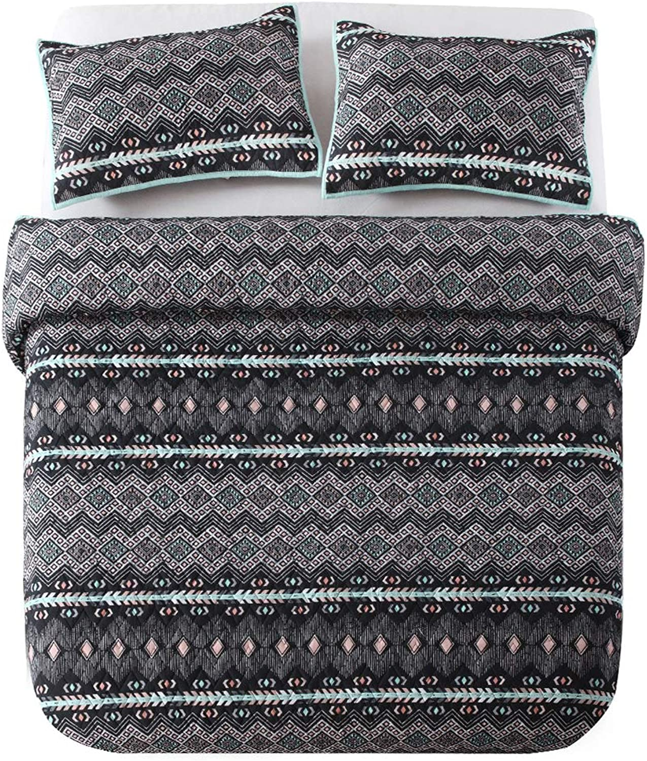 NEWLAKE Reversible Quilt Bedspread Coverlet Set,Classic Ethnic Style, Queen Size