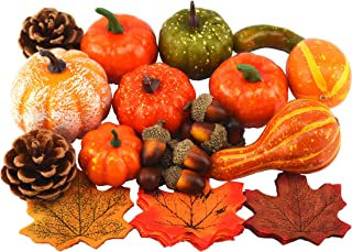 JEDFORE Mixture of Artificial Pumpkins, Lifelike Maple Leaves, Realistic Acorn with Natural Cap, Pine Cones for Festival Halloween Thanksgiving Fall Harvest Home Decoration(50pcs)