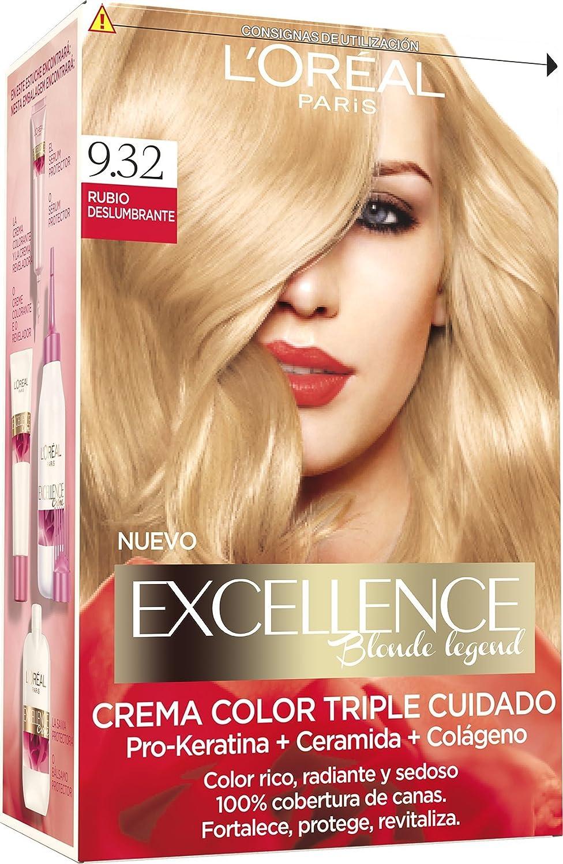 LOréal Paris Excellence Blonde Legend - Tinte, color 9,32 rubio deslumbrante, 200 gr