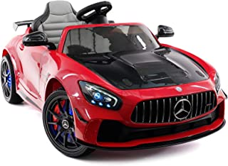 Moderno Kids Mercedes GT 12V Power Children Ride-On Car with R/C Parental Remote + EVA Rubber LED Wheels + Leather Seat + MP4+MP3 Video/Music Player + LED Lights + Rubber Floor Mats (Cherry Red)