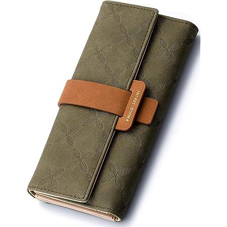 PAULO SERINI® Geldbörse Damen - Portemonnaie Damen 100% veganes Leder - Geldbeutel für Frauen groß mit 9 Kartenfächern Frauen - Women Wallet Olive Green - grün