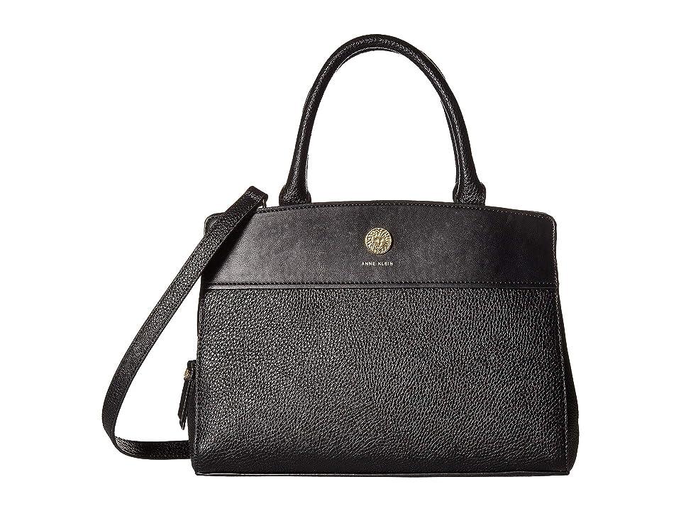 Anne Klein Split Top-Handle Satchel (Black) Satchel Handbags