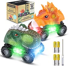 Magicfun Dinosaur Cars Gifts for Boys Girls, 2 Pack Dino Cars with LED Light Sound Dinosaur Toys Animal Vehicles for 2-8 Year Old Boys Girls Toddlers Kids Christmas Birthday Gifts