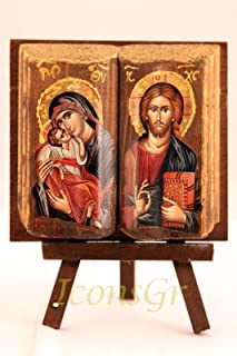 Wooden Greek Christian Orthodox Wood Icon of Mother of Jesus & Jesus /Mp11