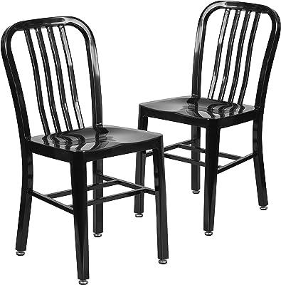Flash Furniture Commercial Grade 2 Pack Black Metal Indoor-Outdoor Chair