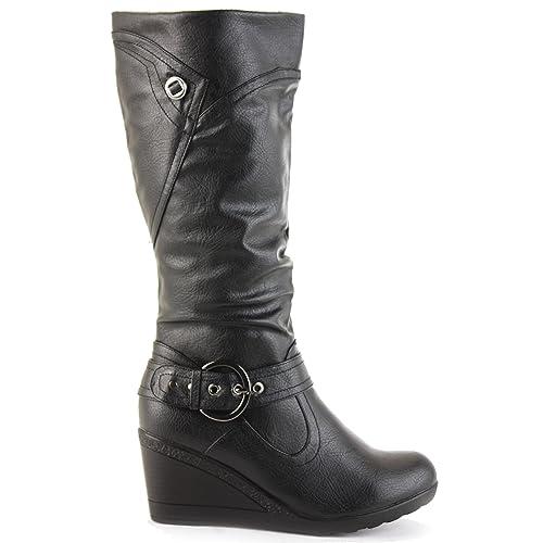 e58a116cde3f Womens Ladies Mid Heel Platform Calf Winter Wedge Knee High Boots size