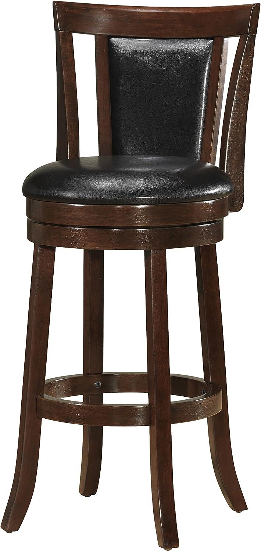Benzara BM170303 Leatherette Swivel Barstool, Brown and Black