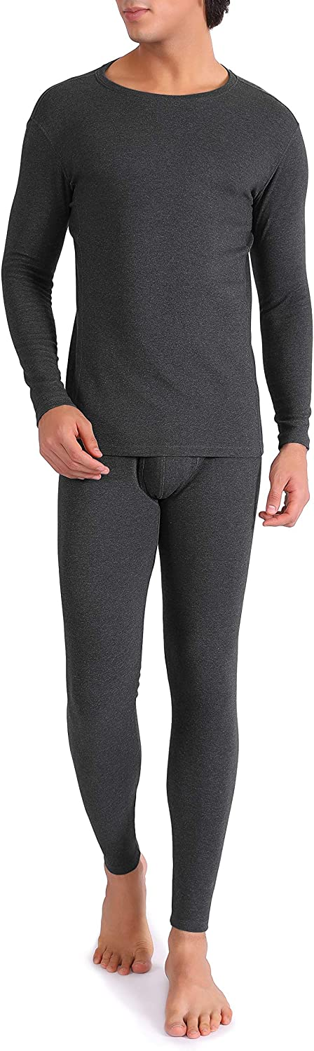 DAVID ARCHY Men's Thermal Underwear Soft Brushed Thermal Pants Bottoms Long Johns and Top Quick Drying Base Layer Set