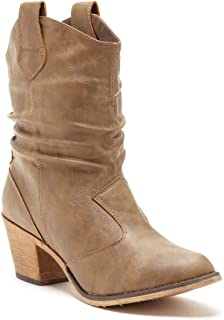 37bf266e7 Charles Albert Women s Modern Western Cowboy Distressed Boot with Pull-Up  Tabs