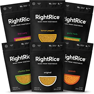 RightRice - Variety Pack (7oz. Pack of 6) - Made from Vegetables - High Protein, Vegan, non GMO, Gluten Free