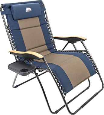 Coastrail Outdoor Zero Gravity Chair Wood Armrest XXL Camping Lounge Patio Support 400lbs Padded Folding Lawn Recliner with S