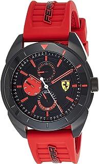 Ferrari Unisex-Adult Quartz Watch, Analog Display and Silicone Strap 830576, Black