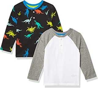 Amazon Essentials 2-Pack Boys Long-Sleeve Henley Shirt Fashion-t-Shirts Niños