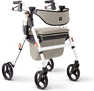 Medline Premium Empower Rollator Walker with Seat, Comfort Handles and Thick Backrest, Folding Walker for Seniors, Microban Antimicrobial Protection, 8